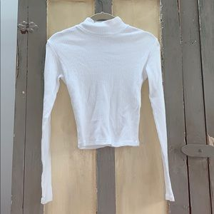 white high neck long sleeve shirt